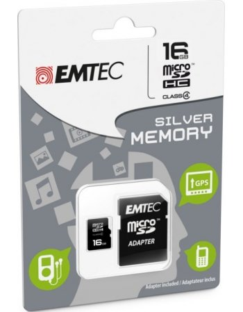 ΚΑΡΤA ΜΝΗΜΗΣ EMTEC MICRO SDHC 16GB CLASS 10 WITH ADAPTOR
