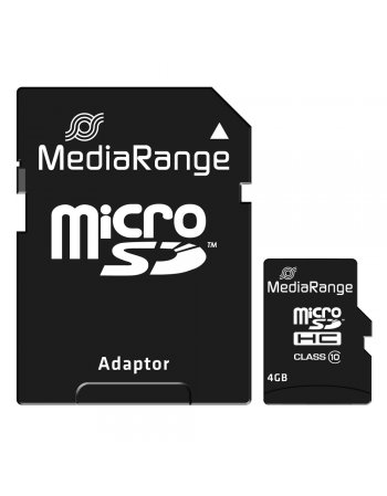 MediaRange Micro SDHC Class 10 With SD Adaptor 4 GB (High Capacity)