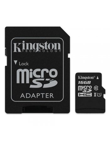 Kingston Micro Secure Digital 16GB microSDHC Canvas Select 80R CL10 UHS-I Card + SD Adapter