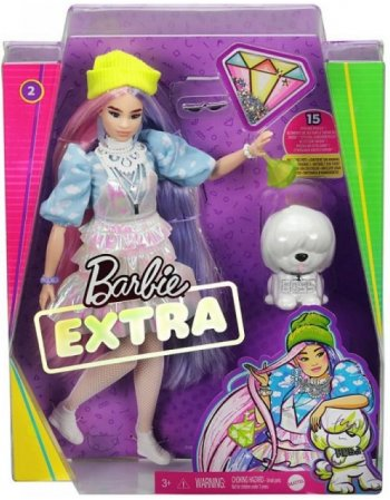 MATTEL BARBIE EXTRA: CURVY DOLL WITH SHIMMER LOOK AND PET...
