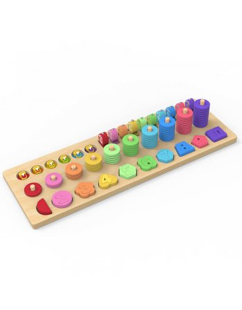 MWSJ 4 in 1 WOODEN RAINBOW STACKING FISHING NUMBER PUZZLE