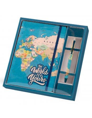 ΣΗΜΕΙΩΜΑΤΑΡΙΟ TOTAL GIFT XL1854 BLUE MAP A5 ΛΑΣΤΙΧΟ+ΣΤΥΛΟ